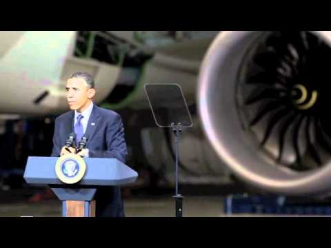 President Obama visits Boeing Everett plant and 787 line