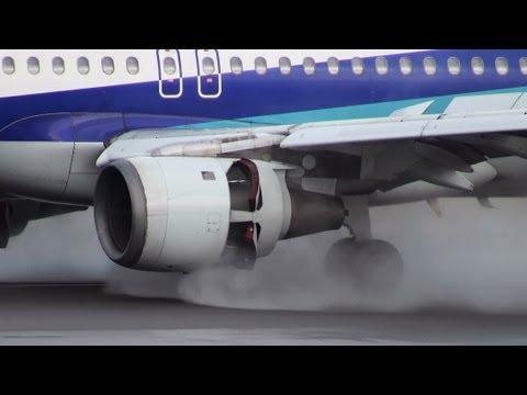 [A320 Reverse Thrust Close-up] ANA Airbus A320-200 JA8386 LANDING TOYAMA Airport 富山空港 2013.5.2