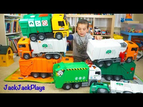 Garbage and Recycling Truck Toy Unboxing Compilation - Huge Toy Trucks Collection