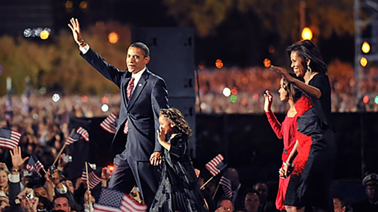 Barack Obama y su familia, la noche de su victoria electoral