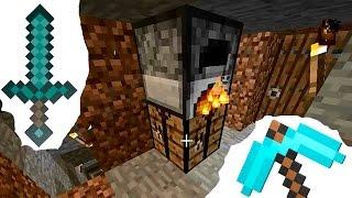 Майнкрафт видео для начинающих. Делаем меч и кирку. Как добыть руду в пещере