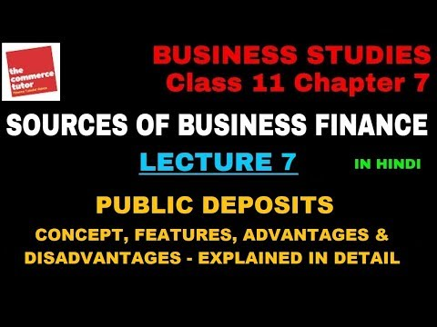 SOURCES OF BUSINESS FINANCE - Lecture 7 | Class 11 Business Studies Chapter 7| PUBLIC DEPOSITS