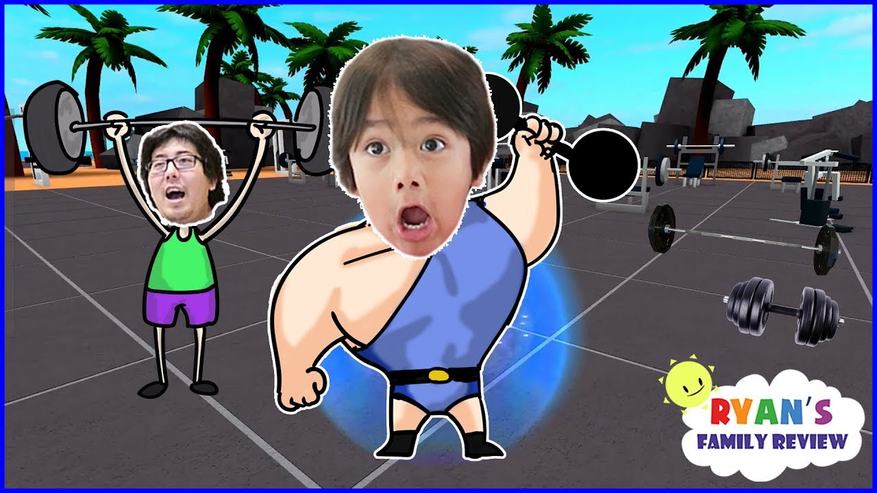 ROBLOX Weight Lifting Simulator 2! Let's Play with Ryan's Family Review!