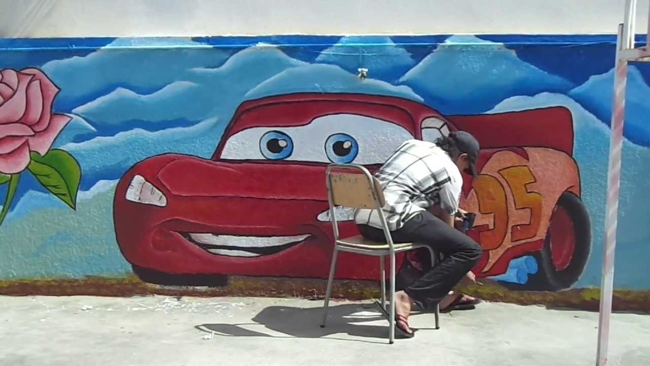 how to paint a car from disney wall painting youtube