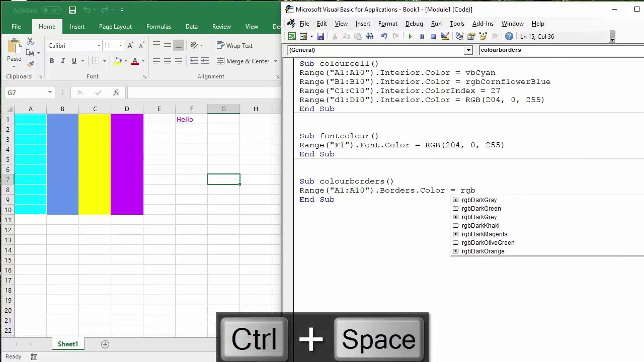 How To Colour Excel Cells Font And Border With Vba Macro