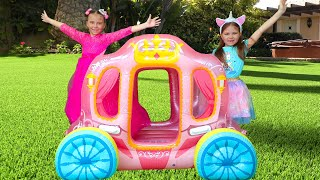 Pretend Play with Princess Carriage Inflatable Toy by Elina and Julia