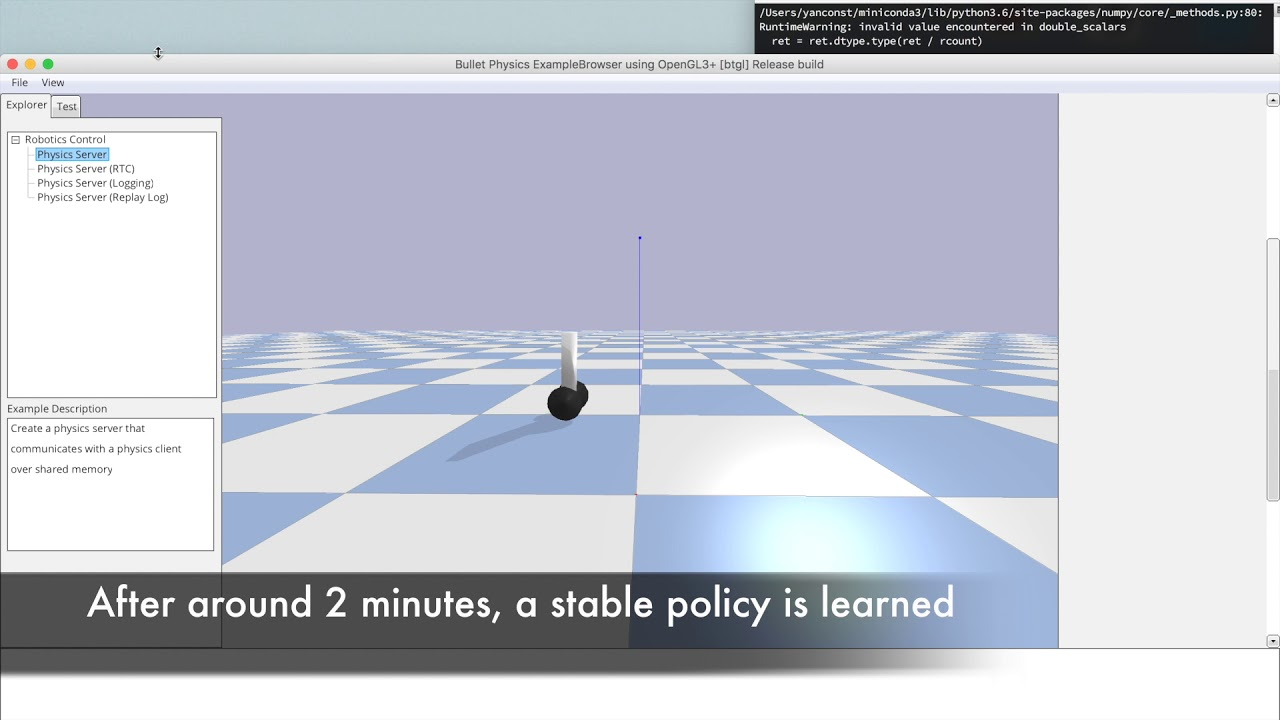 Balancing bot building using OpenAI's Gym and pyBullet