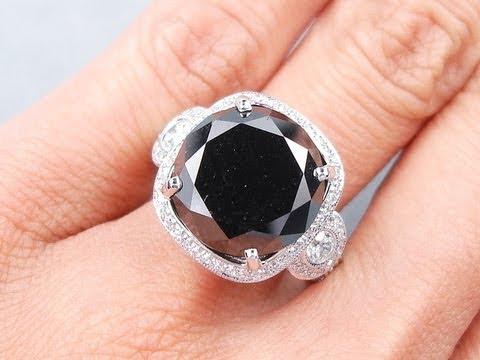 11.09 Ctw Round Cut Black Diamond Ring - BigDiamondsUSA