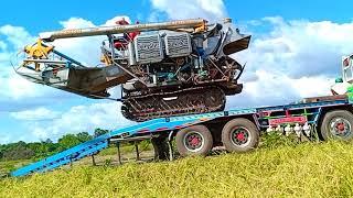 รถเกี่ยวข้าวขึ้นเทรลเลอร์-รถเกี่ยวนวดข้าว-ปานเจริญ-การช่าง-combine-harvester