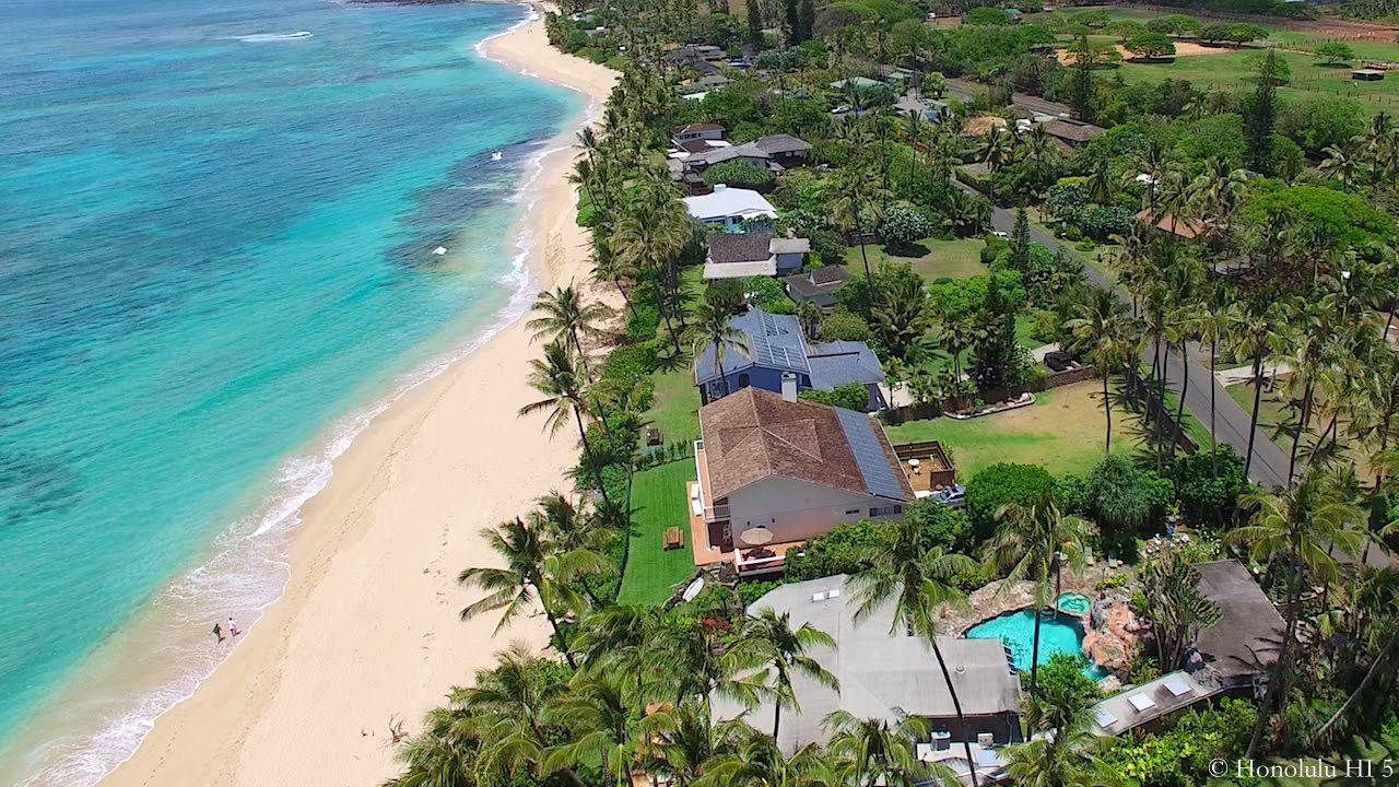 Aerial tour of oceanfront north shore oahu homes youtube for North shore home builders