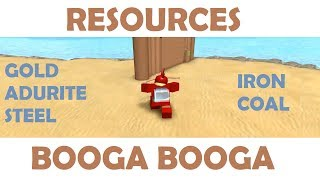 Roblox Booga Booga - Getting Resources - Adurite, Gold, Steel, Coal, Iron