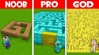 Minecraft NOOB vs PRO vs GOD: GIANT MAZE BUILD CHALLENGE! NOOB BUILD SECRET MAZE! (Animation)
