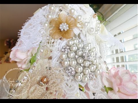Shabby Chic Altered Lamp Shade Mobile - YouTube