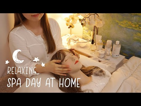 ASMR Relaxing Spa Day At Home🌛 Facial Treatment, Scalp Massage, Hair Brushing