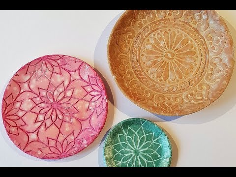 DIY plates using paper clay and That´s Crafty! stencils and paints