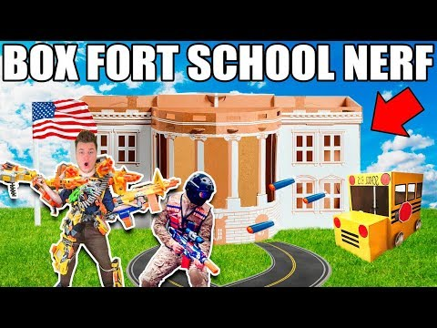 BOX FORT HIGH SCHOOL JOINING THE NERF TEAM!!  Nerf, Robots & School Roleplay