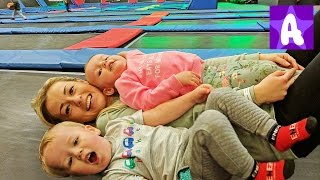 Funny Alex with Family playing at Indoor TRAMPOLINE Park