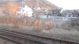 425M・普通【山陽本線・笠岡駅】旧井笠鉄道線路跡・車窓(平成27年2月14日)