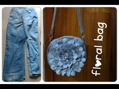 Floral BAG out of old jeans D I Y*