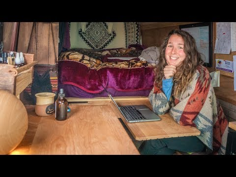 Female student saves $1000s a year on rent!! // Sprinter Van Conversion Tour.