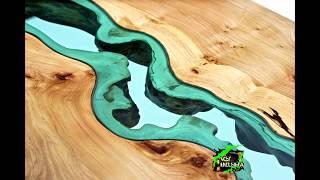 Стеклянные реки, пересекающие деревянную мебель