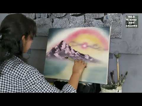 Acrylic painting tutorial for beginners step by step || Following Bob Ross Tutorial