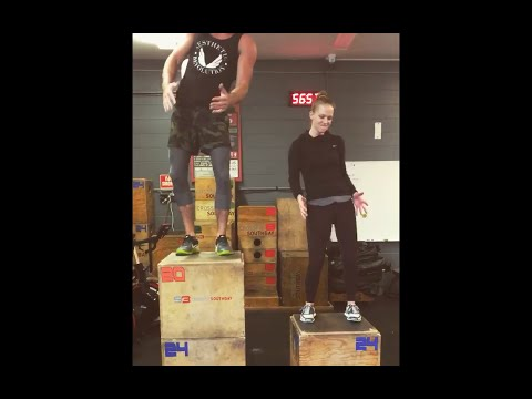 AJ Cook and Nathan Andersen: Synchronized box jumps