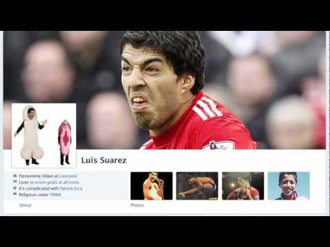 Luis Suarez gets his teeth into Man United on Fakebook*