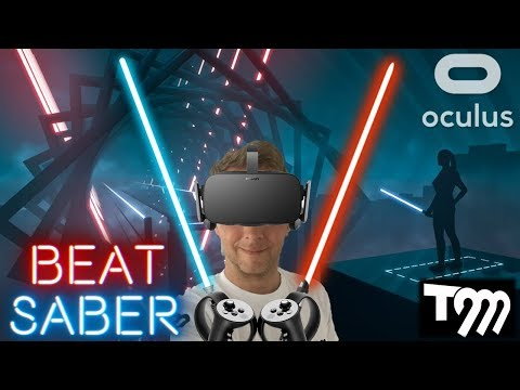 VIRTUAL REALITY LIGHTSABER + MUSIC = Beat Saber VR Gameplay (Oculus Rift VR + Touch Gameplay)