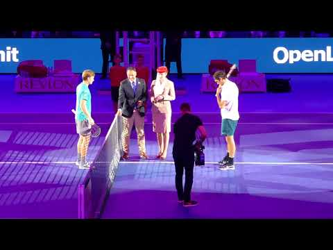 Federer Halbfinal-Einlauf Swiss Indoors Basel 2017