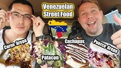 Venezuelan Latin Street Food MUKBANG (Big -Bites) | Carne and Puerco Arepa | Beef and Pork Patacon
