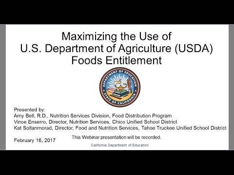 CDE Food Distribution Program: Maximizing the Use of USDA Foods Entitlement