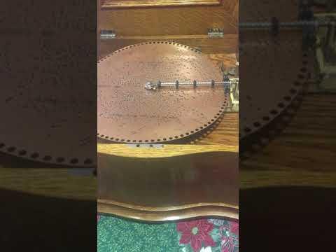 """15 1/2"""" Antique Reginaphone Music Box with Oak Case"""