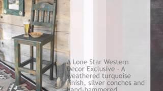 Distressed Turquoise Barstool - Lonestarwesterndecor.com