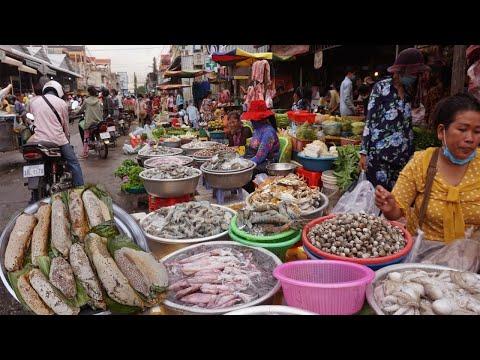 Morning Food Market At Phsar Prek Phnov - Walking Around Prek Phnov Market @ Khan Prek Phnov