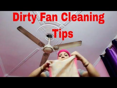 How to clean a ceiling fan/how to clean fan blades/ dusty ceiling fan cleaning.