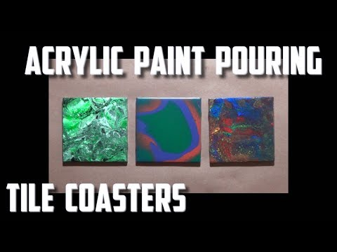 Repeat Acrylic Pour Painting Tile Coasters by Pour Painting