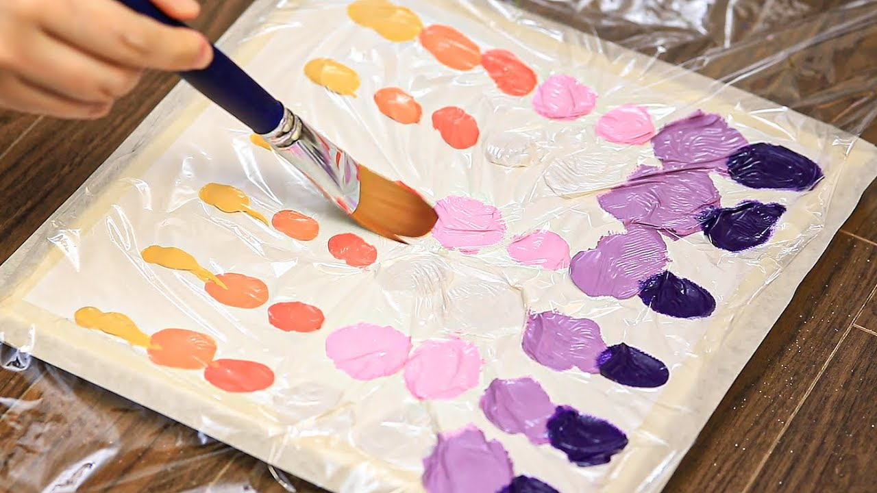 How To Draw Sunset Sky With Cling Film|Texture Acrylic Painting on Canvas Step by Step #484