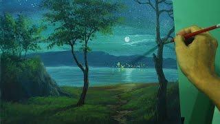 Acrylic Landscape Painting Lesson - Moonlight Over the Sea by JM Lisondra