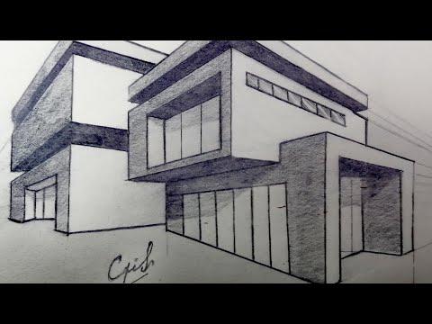 como-dibujar-una-casa-con-dos-puntos-de-perspectiva-casa-moderna