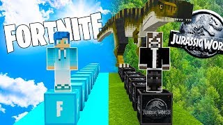 LUCKY BLOCKS JURASSIC WORLD VS LUCKY BLOCKS FORTNITE 😱 JURASSIC WORLD 2 EN MINECRAFT ROLEPLAY TROLL