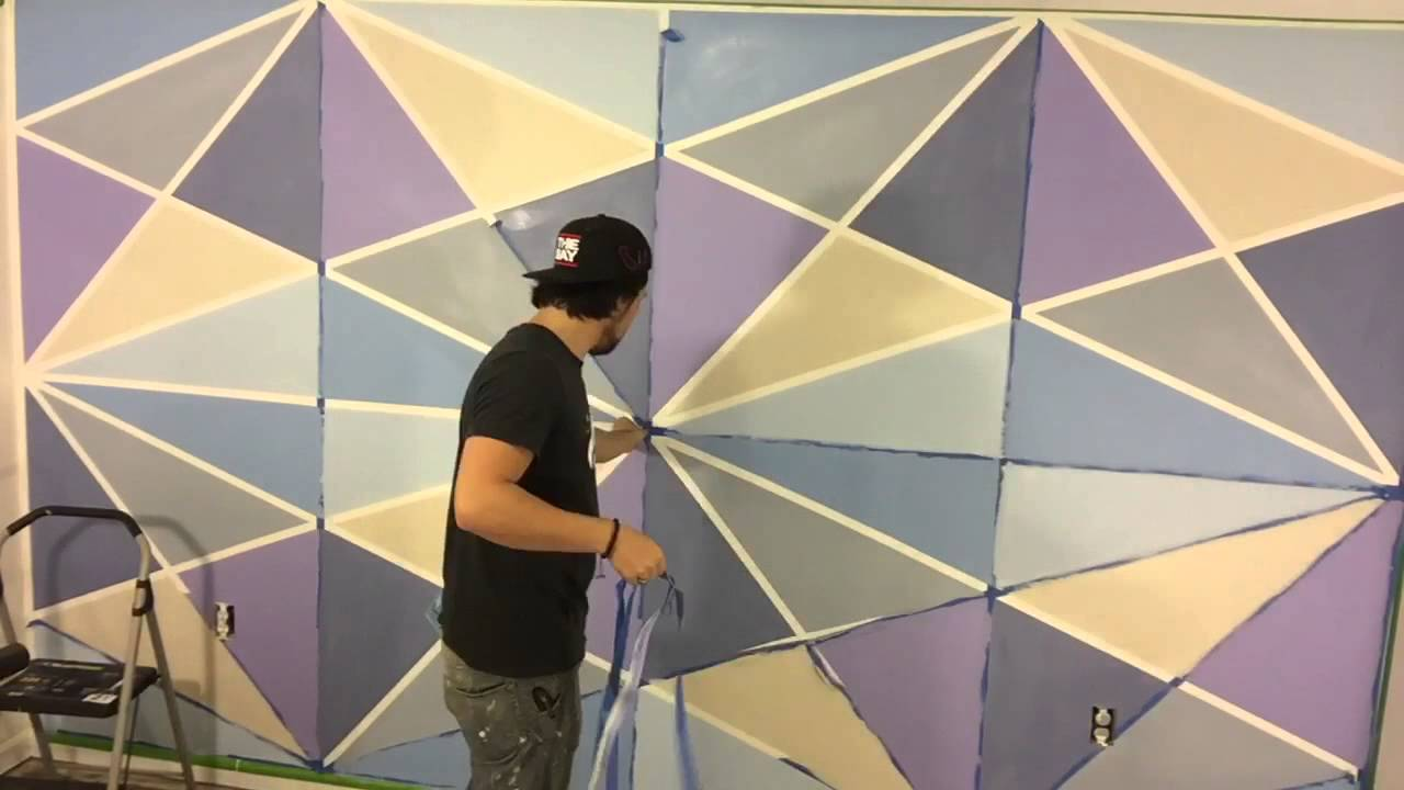 Geometric wall paint youtube Painting geometric patterns on walls