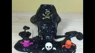 How to make black glitter slime (for Halloween?). by Granny B. (CKToysClub)