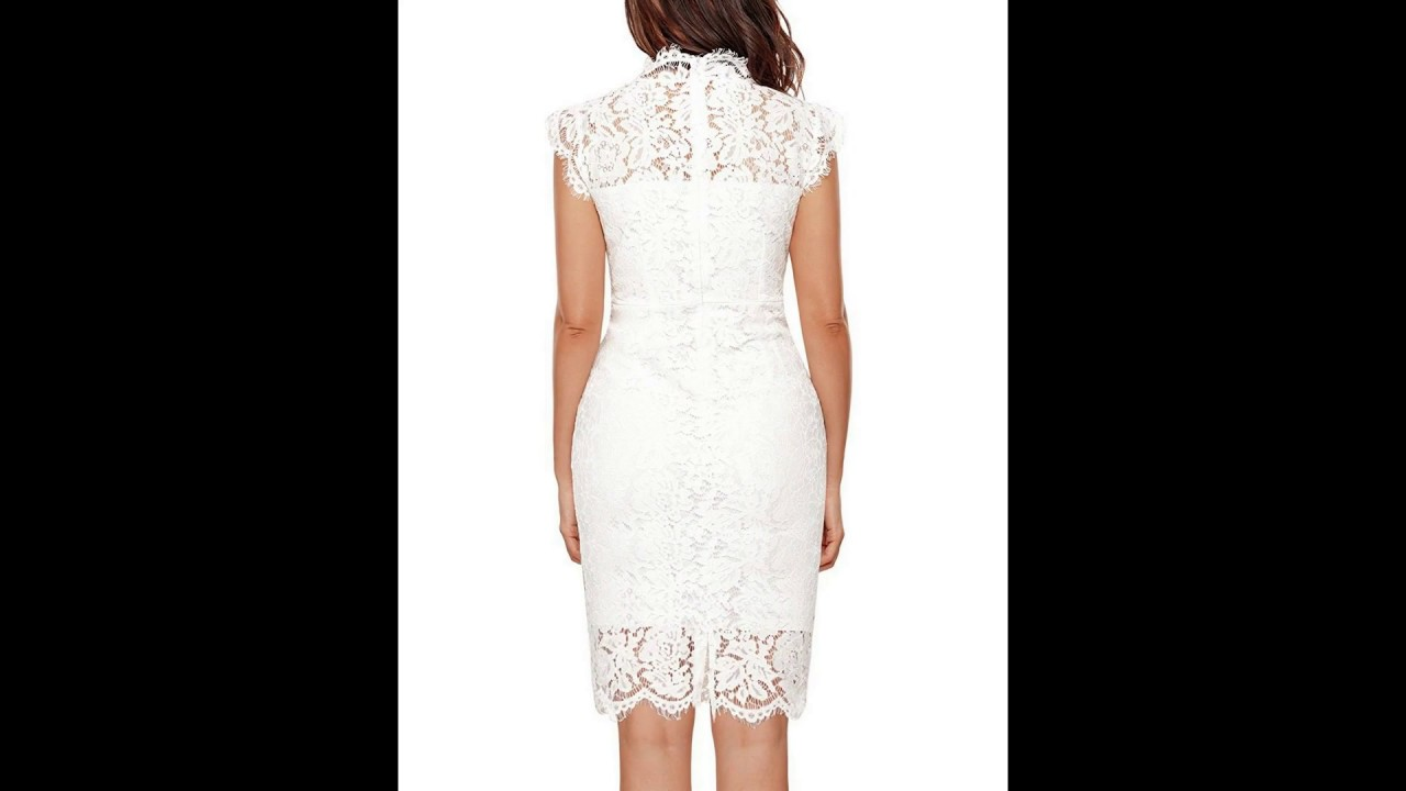 1a9de13c80e MEROKEETY Women s Sleeveless Lace Floral Elegant Cocktail Dress Crew Neck  Knee Length For Party