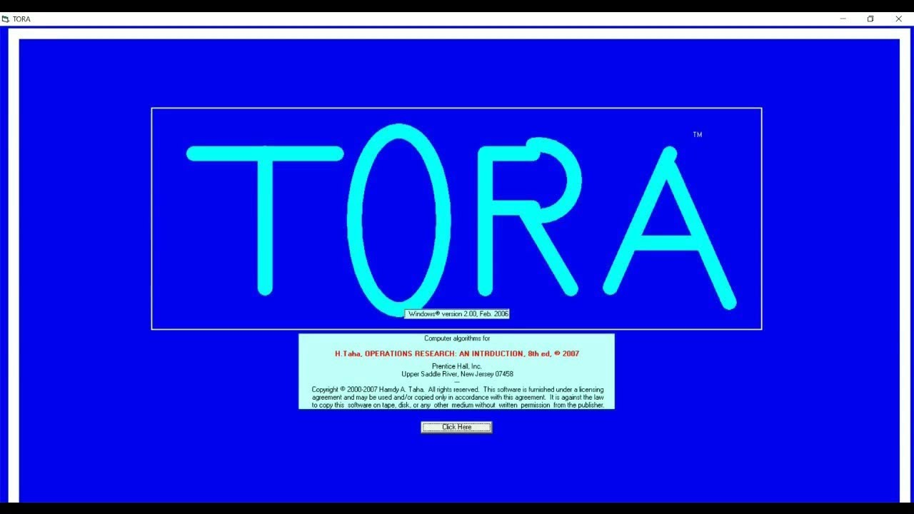 tora software for operation research free download
