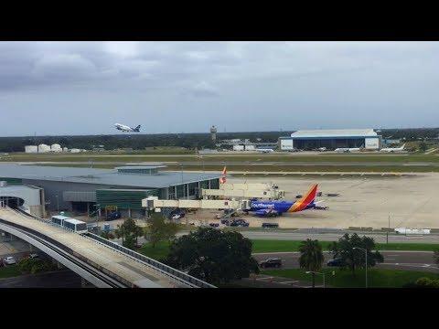 Tampa Airport Airside Action - wideshot (wind noise headphone warning)  | TPAspotting