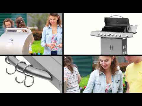 Broil-Master BBQ Gas Grill With 6 Burners And A Side Burner BBQG16