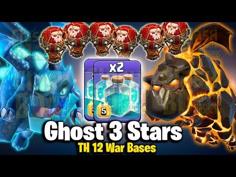 Ghost 3 Star TH12 War Base! 2 Max Clone Spell With LavaLoon Electro Dragon TH12 Attack Strategy 2019