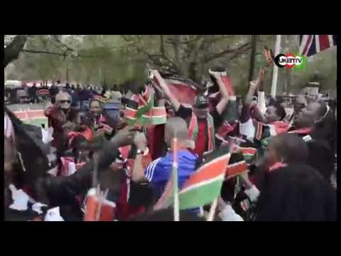 KENYANS IN LONDON CHEERS AS KENYA WINS MARATHON