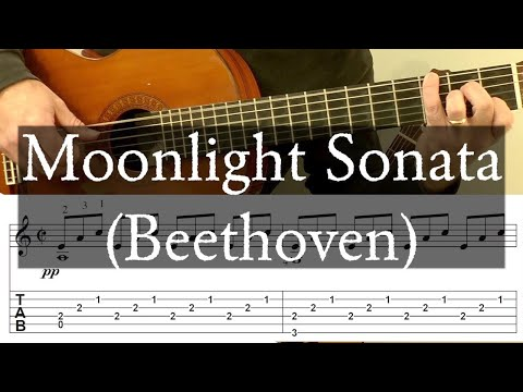 MOONLIGHT SONATA (First Movement) Full Tutorial with TAB - Fingerstyle Guitar